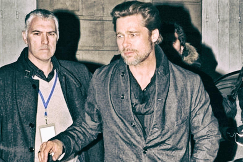 Jean-Noël Naturel et Brad Pitt en protection rapprochée